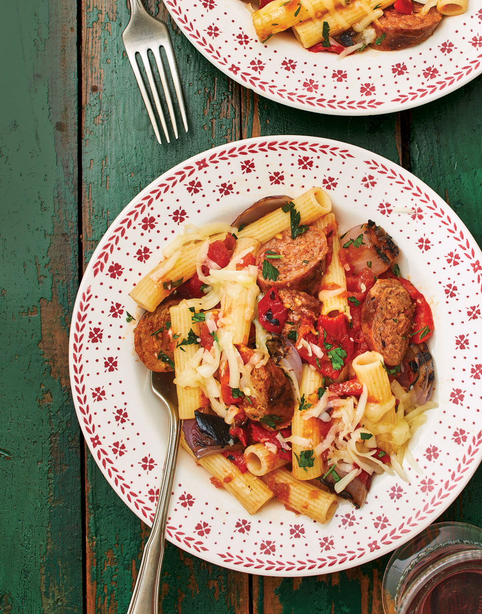 Italian Sausage & Pepper Rigatoni with Grilled Tomato Sauce