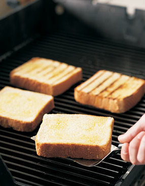 For open-faced sandwiches, grill thick slices of toast until crispy and lightly browned on both sides.