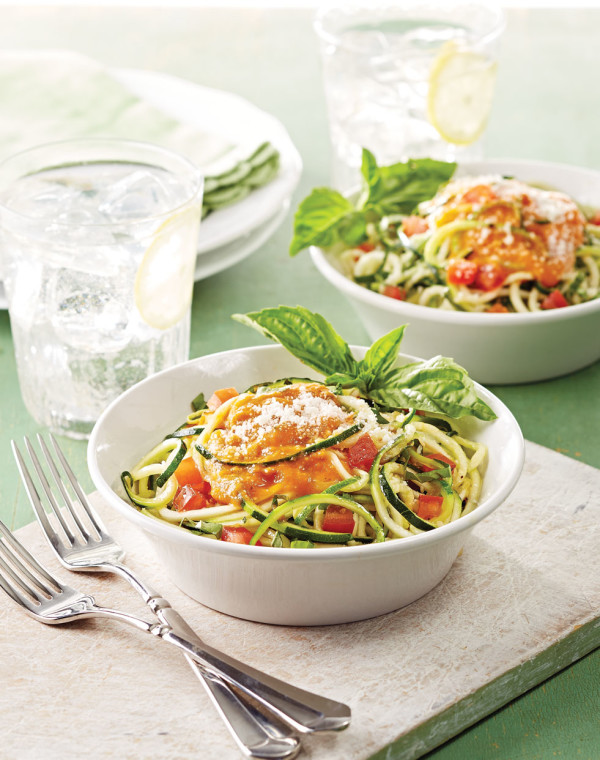Zucchini Noodles with roasted tomato sauce