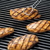 For crosshatch effect, grill chicken for 2 minutes, rotate 90 degrees, and grill 2 minutes more; repeat on other side.