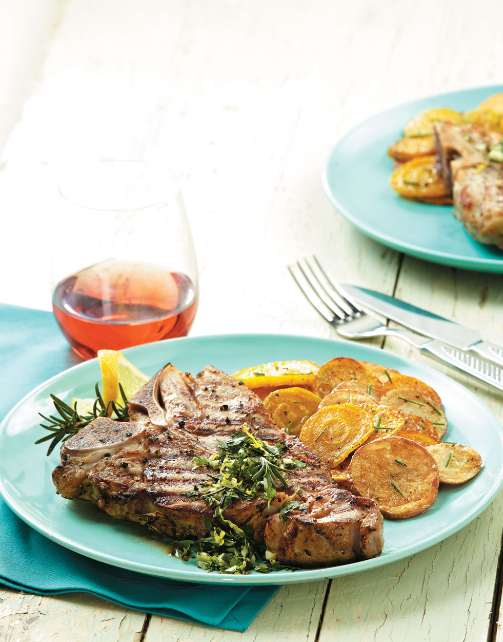 Grilled Veal T-bones with Rosemary Gremolata