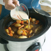 Before adding the flour, be sure the liquid in the slow cooker is simmering; that way the sauce with thicken properly.