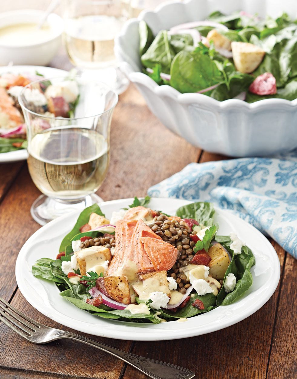 Salmon & Lentil Spinach Salad