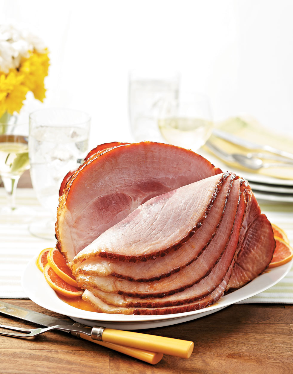 Roasted Ham with sherry-apricot glaze