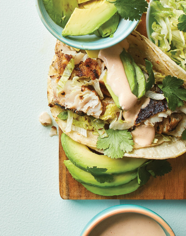 Grilled Fish Tacos with lime crema