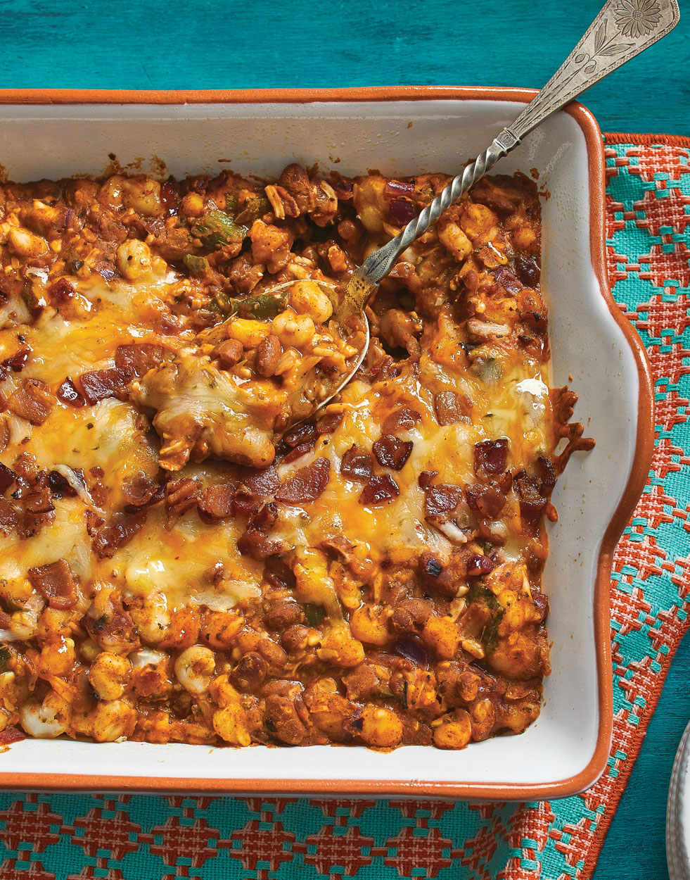 Hominy Pinto Bake with bacon & cheese
