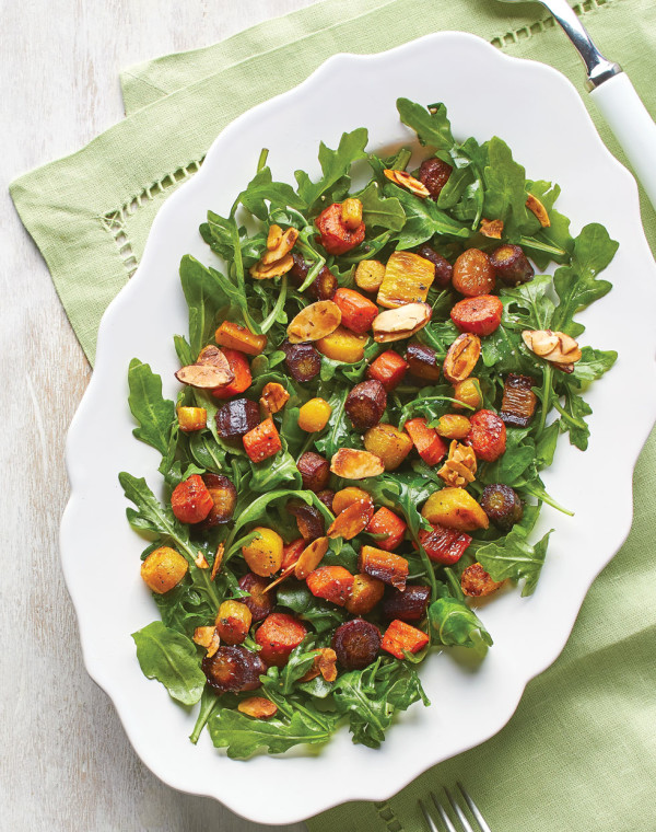 Honey-Roasted Carrot Salad with Arugula & Almonds
