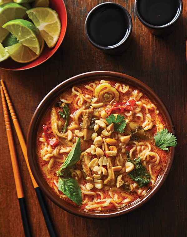 Instant Pot Spicy Ramen Bowls with red curry