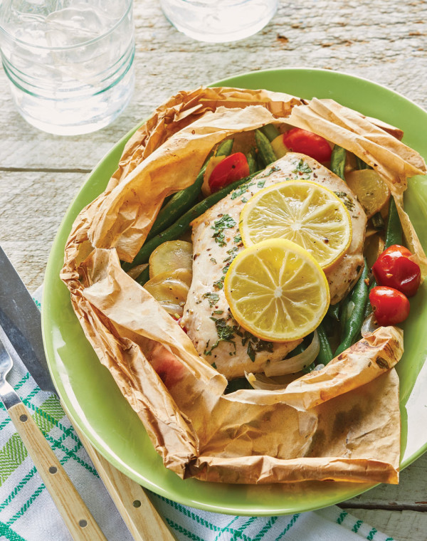 Lemon Chicken Parchment Packets with summer vegetables