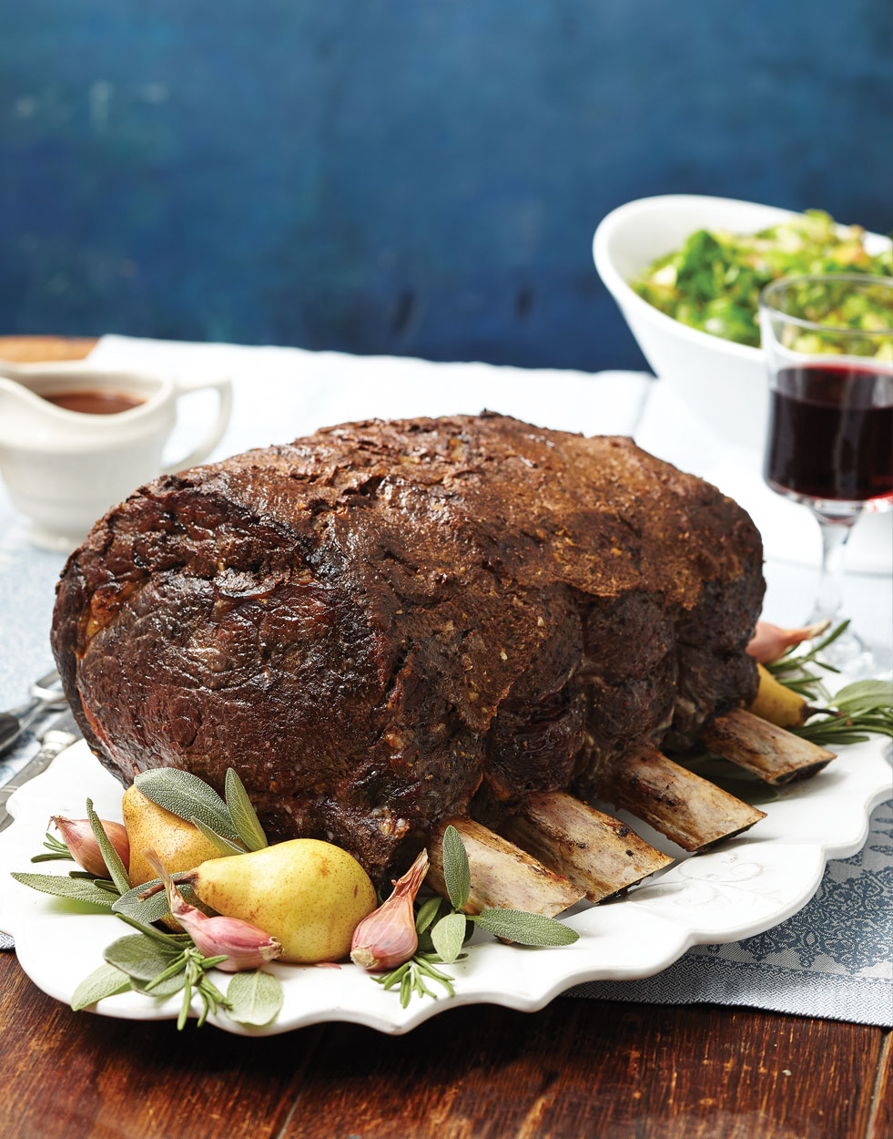 Standing Rib Roast with Red Wine Sauce