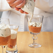 Piping ingredients is a quick, easy, and nearly mess-free way of layering them in small glasses.
