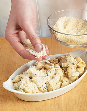 Topping the casseroles with panko and Parmesan adds great flavor, texture, and browning when baked.