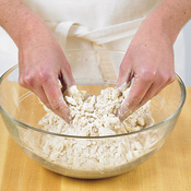 Use your fingertips to cut in fats. This will prevent the oats from breaking or the fats from melting.