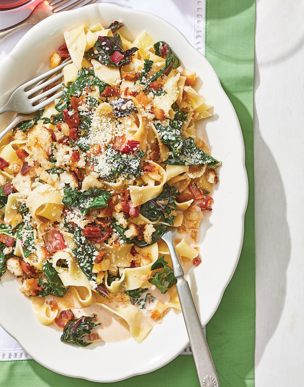 Creamy Swiss Chard Pappardelle with Bacon Bread Crumbs