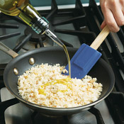 Toast crumbs with a little oil in a nonstick skillet. Sauté until crumbs are quite brown and crisp.
