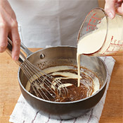 After heating brown sugar, butter, corn syrup, and espresso powder to form caramel, whisk in the cream mixture.