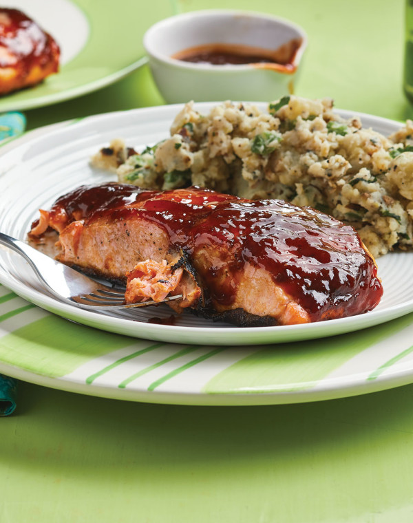 Cherry-Chipotle Grilled Salmon with grilled smashed potatoes