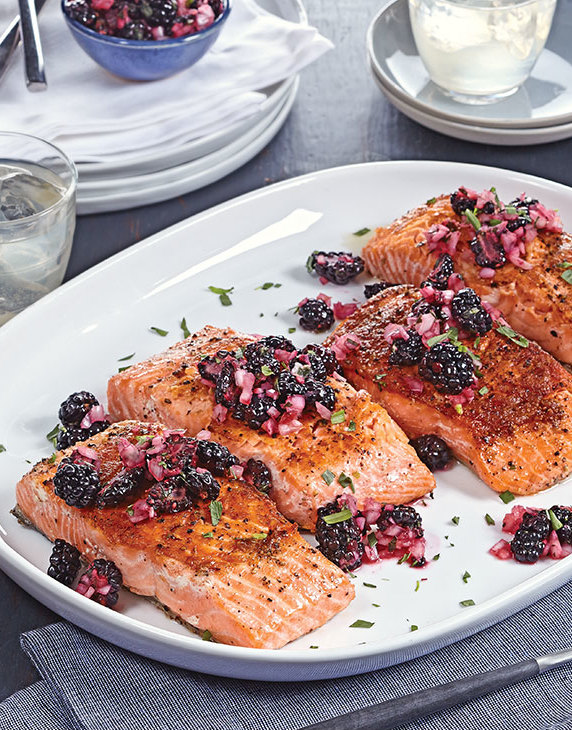 Crispy Brined Salmon with blackberry relish