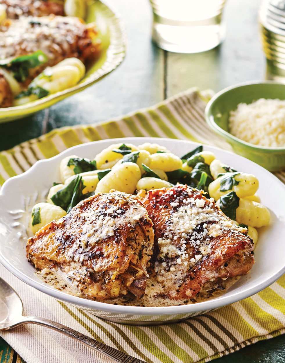 Italian Chicken Thighs with Asiago-Garlic Sauce