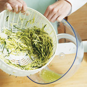 Zucchini is watery, so spin it and the onion together in a salad spinner to remove excess liquid.