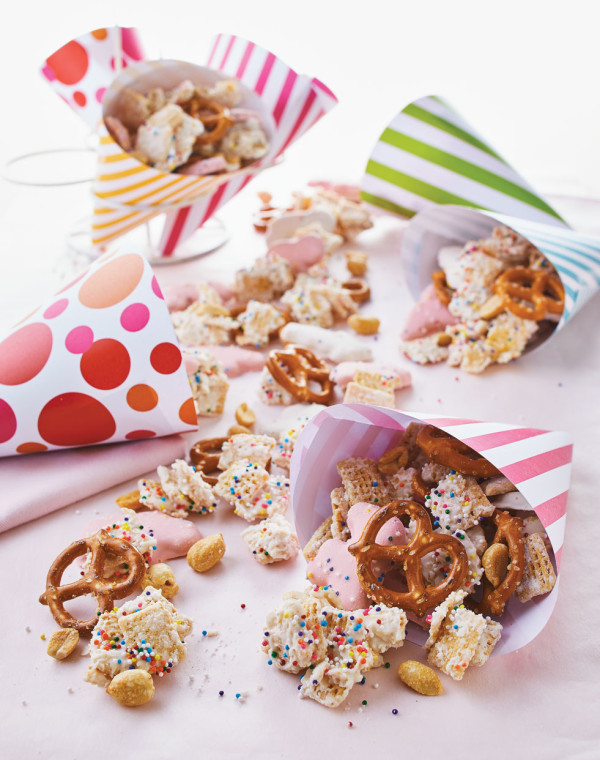Frosted Animal Cookie Chex Mix with Peanuts & Pretzels