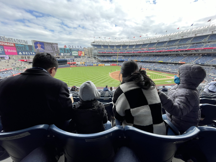 Andrew, Evelyn, and the boys at Yankee Stadium