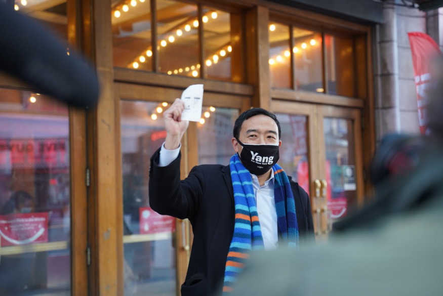 "Andrew Yang shows off tickets to ""Boogie"" on the first day of NYC theater reopening."