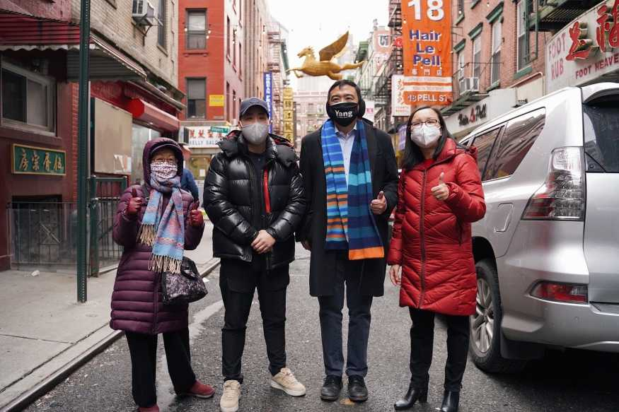 Andrew Yang with Council Member Margaret Chin and candidate for NYC Council District 1, Gigi Li in Manhattan Chinatown