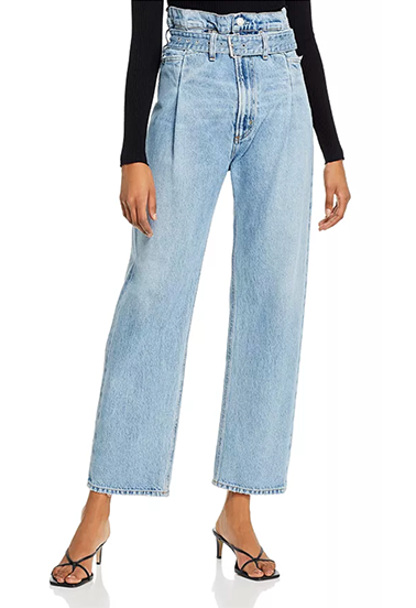 Cotton Paperbag-Waist Jeans in Revival