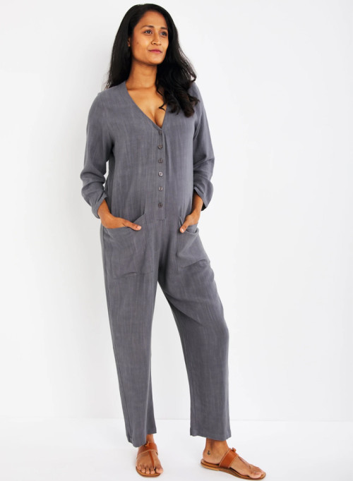 Troy Linen Maternity Jumpsuit