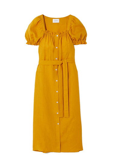 yellow-orange dress with buttons and tie waist