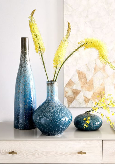 Reactive Glaze Ceramic Vases - Light Blue