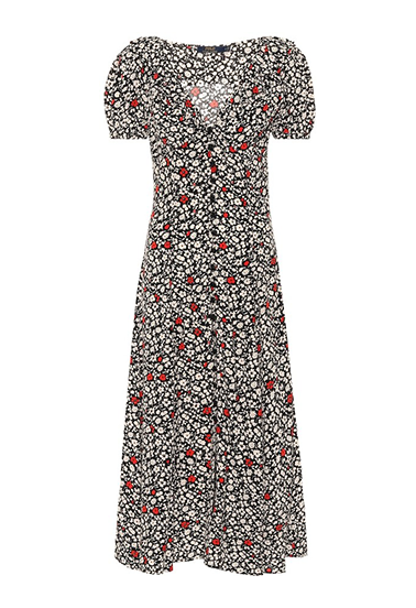 black white and red floral dress with buttons up the front