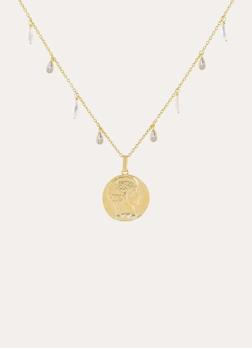 CZ x Pearl Coin Necklace