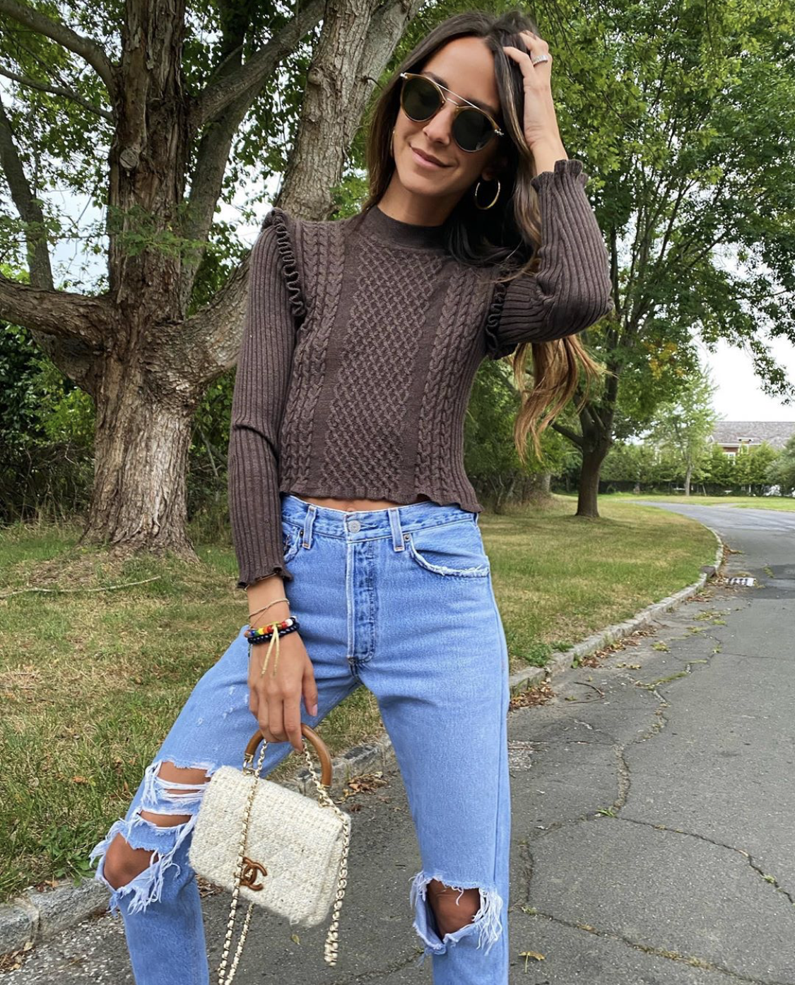 arielle wearing sara top
