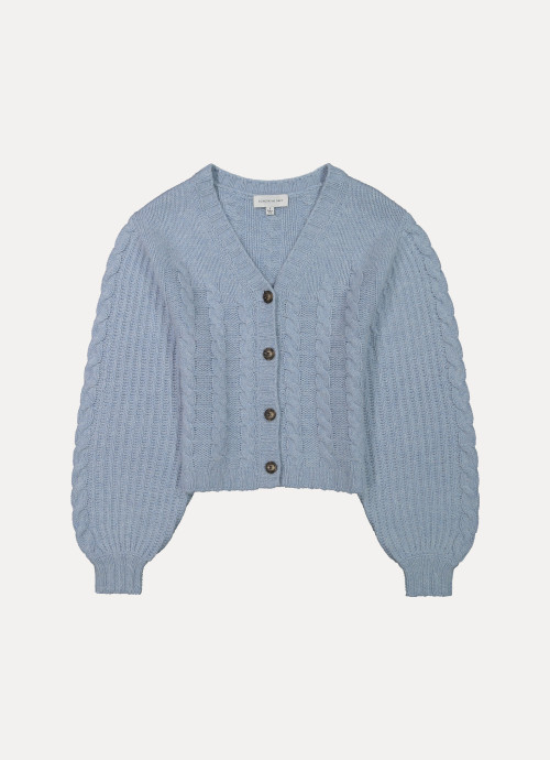 Giselle Cropped Cable Knit Cardigan