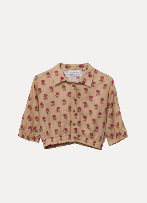 Cropped Short Sleeve Buttondown