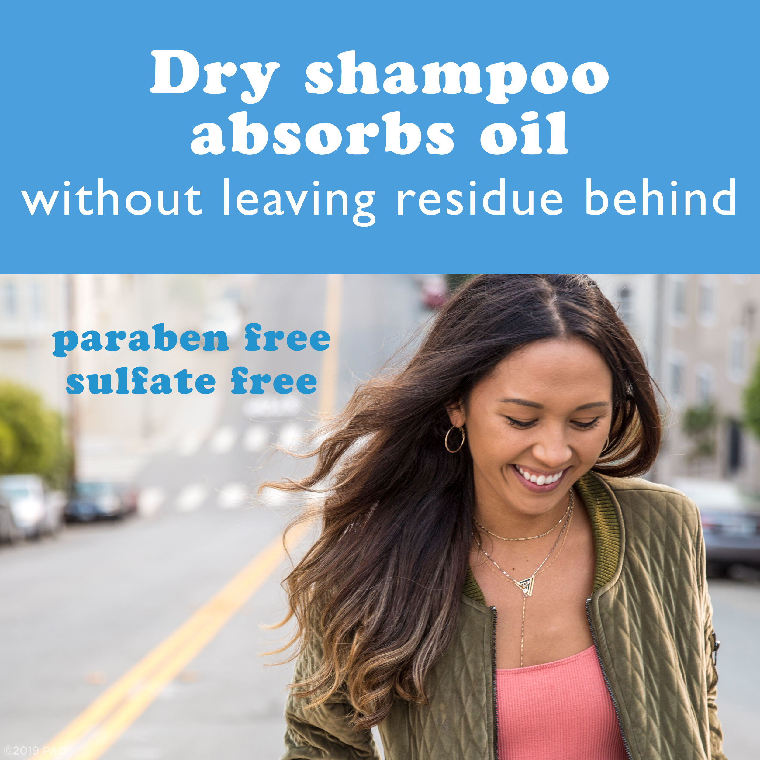 Dry Shampoo Absorbs Oil without leaving residue behind paraben and sulfate free.