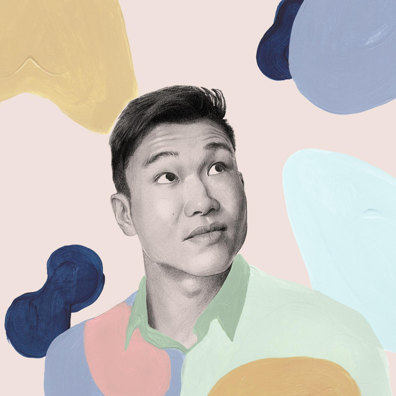 Illustration of comedian Joel Kim Booster