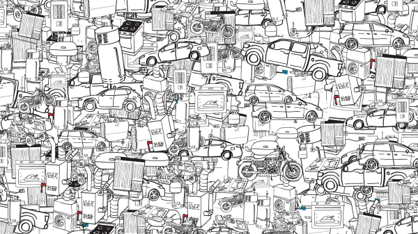 Collage image of machines stacked on one another