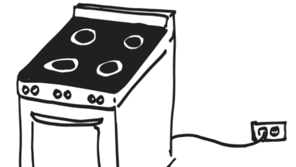 Sketch of electric stove