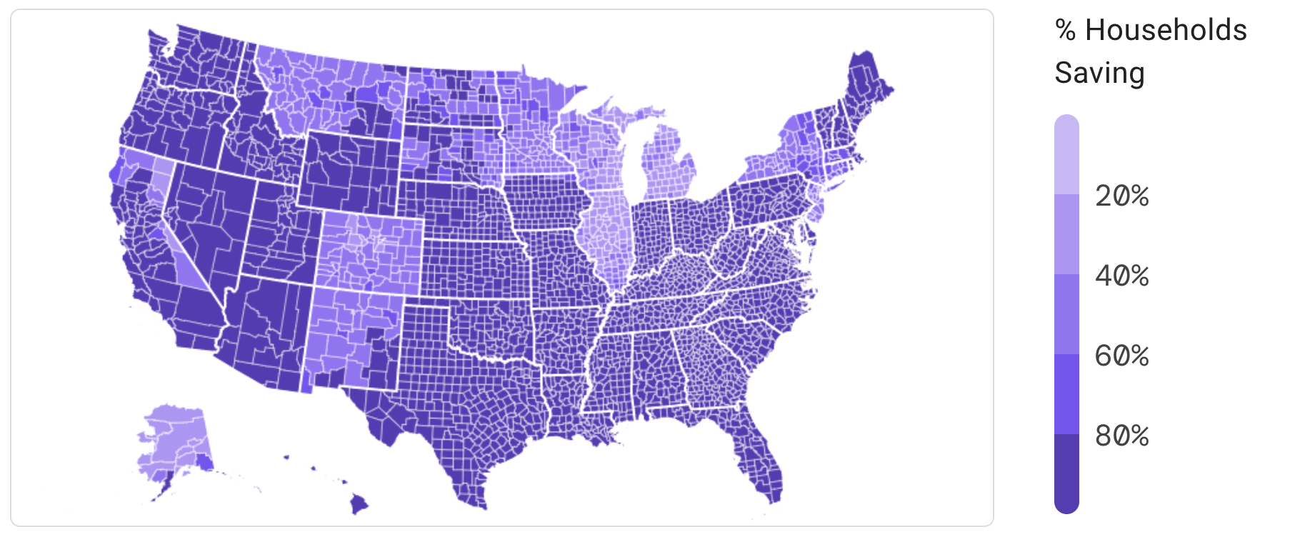 Map of the US showing that most households in counties across the nation would save on their energy bills with modern, electric appliances. In shades of purple, shows each county savings from 0 to 100%, with 100% represented by the darker purple.
