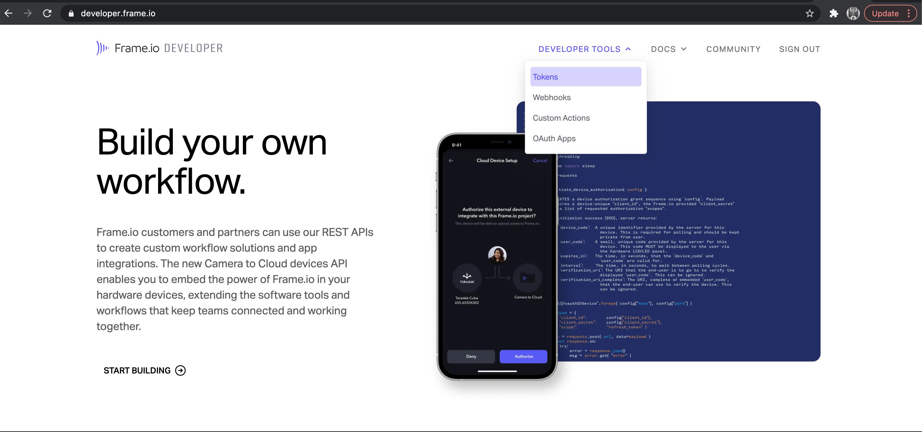 Tools on Frame.io Developer Site