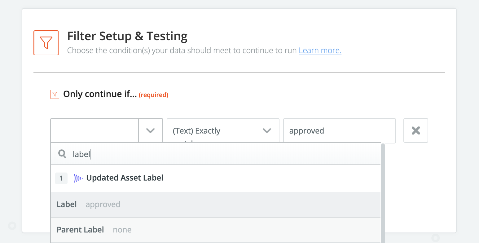 Quick-search for asset approved