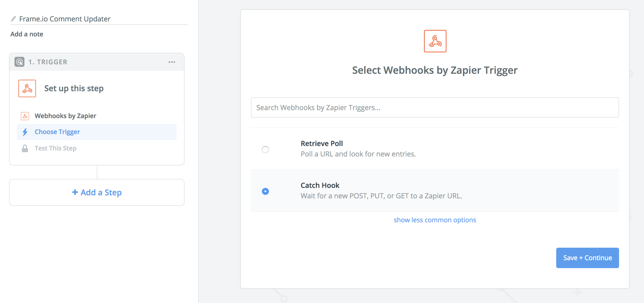 Trigger selection in Zapier