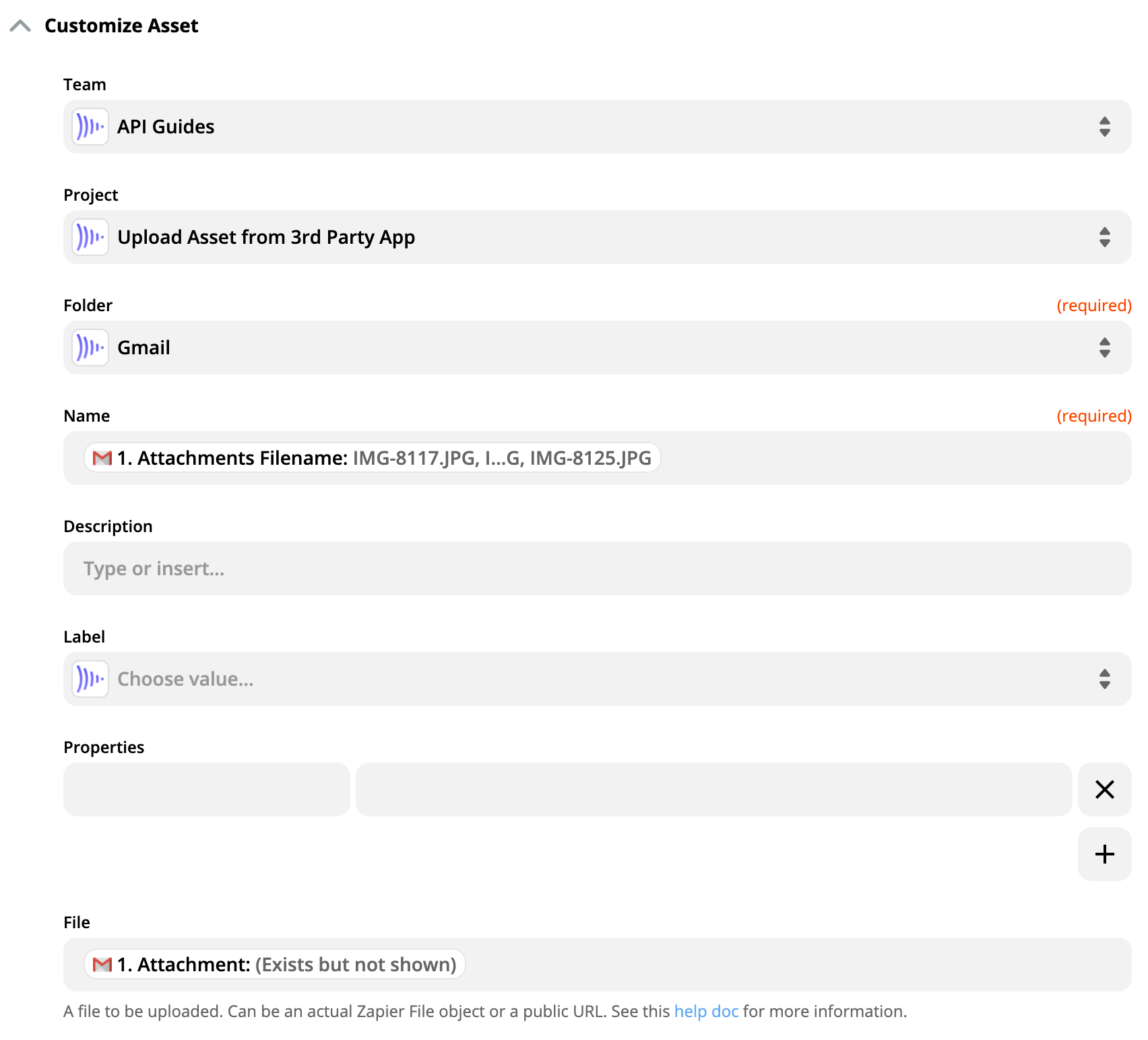 Customize Asset screenshot