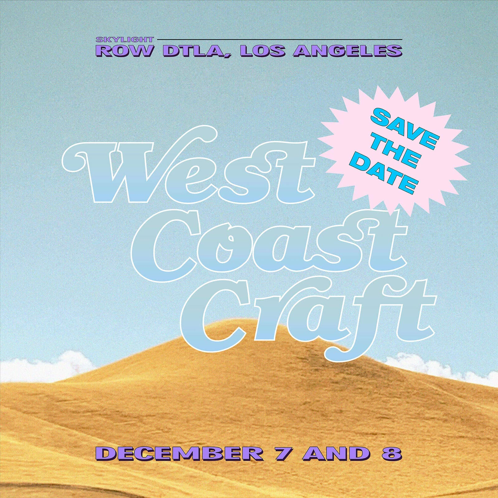 graphic poster of west coast craft los angeles fair featuring artists and designers