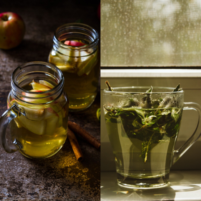 Apple vinegar and green tea hair rinse treatment