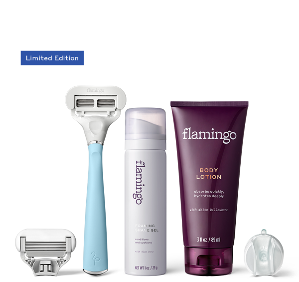 Shave Set including Limited Pool Blue Flamingo Razor, Extra 5-blade cartridge, mini foaming shave gel, mini body lotion and shower hook
