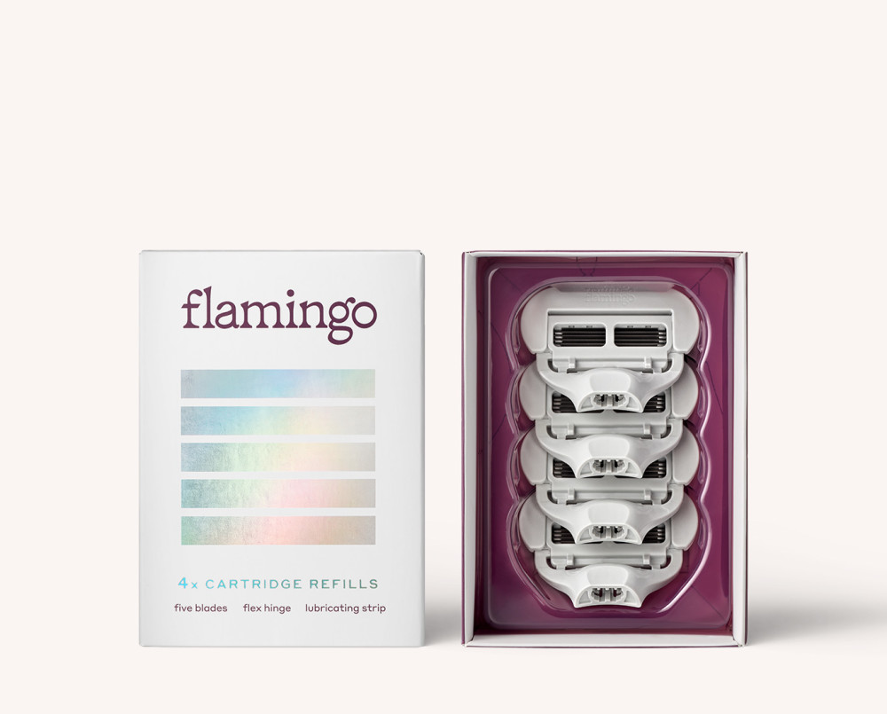 Four five-blade Flamingo Razor Cartridges displayed in packaging